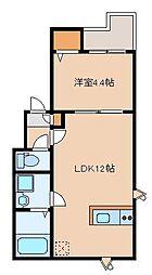 福岡県福岡市中央区警固1丁目の賃貸アパートの間取り