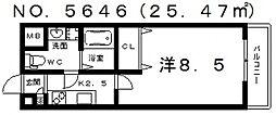 インパレス天王寺[702号室号室]の間取り