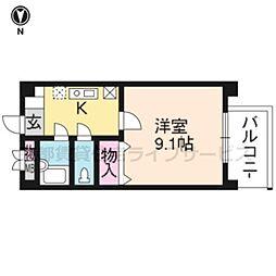 京都府京都市南区西九条御幸田町の賃貸マンションの間取り
