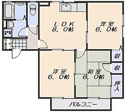 セジュールSHIGENO A棟[202号室]の間取り