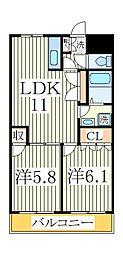 セントラルハイツII[1階]の間取り