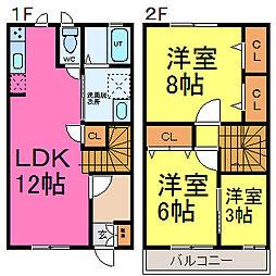 兵庫県たつの市揖西町南山の賃貸アパートの間取り