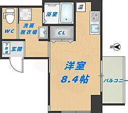 みおつくし高井田 8階ワンルームの間取り