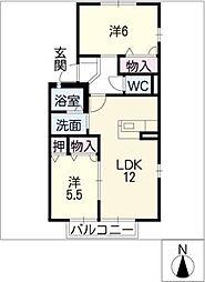 フレグランス藤塚 B棟[2階]の間取り