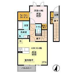 茨城県神栖市知手中央4の賃貸アパートの間取り