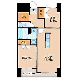 JR仙石線 榴ヶ岡駅 徒歩2分の賃貸マンション 9階2LDKの間取り