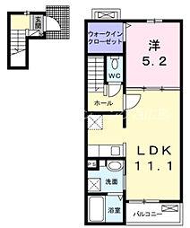 JR山陽本線 西広島駅 徒歩18分の賃貸アパート 2階1LDKの間取り