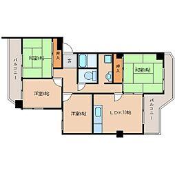 奈良県奈良市学園朝日元町2丁目の賃貸マンションの間取り