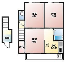 荒田町3丁目アパート[2F号室]の間取り