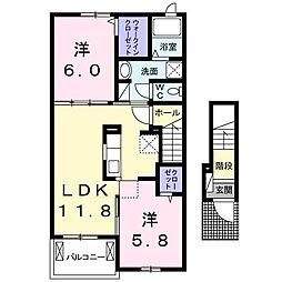フランボアーズ篠山II[2階]の間取り