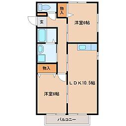 グロワールB棟[2階]の間取り