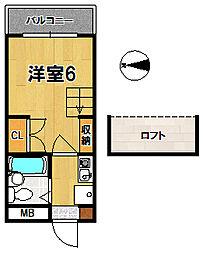 奈良県奈良市南京終町2丁目の賃貸マンションの間取り