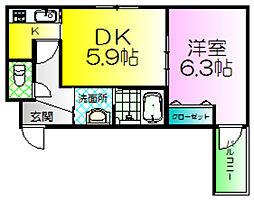 フジパレス諏訪ノ森3番館[1階]の間取り