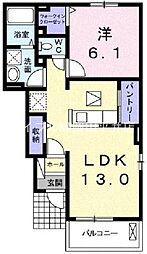 岡山県岡山市南区浜野1丁目の賃貸アパートの間取り