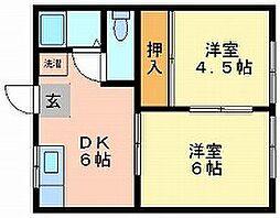 岡山県岡山市中区国富3丁目の賃貸アパートの間取り