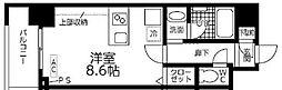 JR中央本線 金山駅 徒歩11分の賃貸マンション 8階ワンルームの間取り