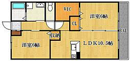 ローズタウンII[203号室]の間取り