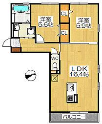 ムーランアヴァンC棟[2階]の間取り