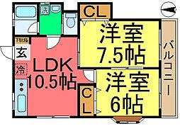 東京都江戸川区本一色3丁目の賃貸アパートの間取り