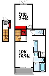 JR鹿児島本線 古賀駅 徒歩15分の賃貸アパート 2階1LDKの間取り