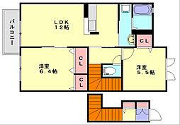 ファミール那珂川 2階2LDKの間取り