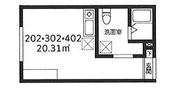 東京メトロ日比谷線 北千住駅 徒歩6分の賃貸マンション 2階ワンルームの間取り