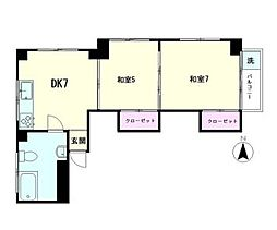東京都新宿区左門町の賃貸マンションの間取り