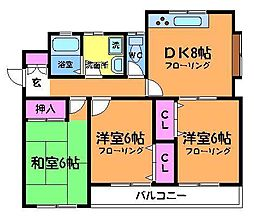東京都調布市東つつじケ丘3丁目の賃貸アパートの間取り