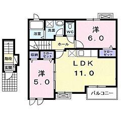 埼玉県所沢市北中1丁目の賃貸アパートの間取り