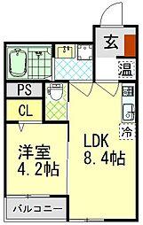 K-HOUSE FIRST 1階1LDKの間取り