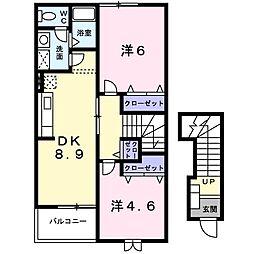 新潟県新潟市江南区うぐいす1丁目の賃貸アパートの間取り