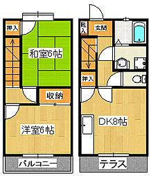 [テラスハウス] 千葉県船橋市東中山2丁目 の賃貸【/】の間取り
