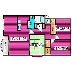北海道札幌市北区太平二条3丁目の賃貸マンションの間取り