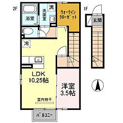 埼玉県本庄市けや木2丁目の賃貸アパートの間取り