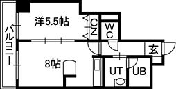 ノースアージュ中島公園 4階1LDKの間取り