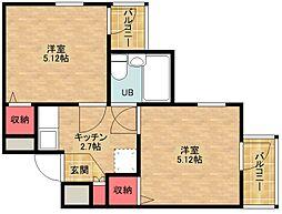 新北島一番館[5階]の間取り