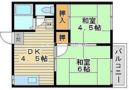 岡山県岡山市南区築港栄町丁目なしの賃貸アパートの間取り