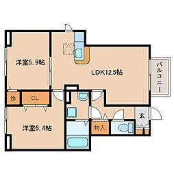 静岡県静岡市葵区松富2丁目の賃貸アパートの間取り