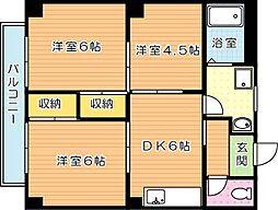 福岡県北九州市八幡西区三ケ森3丁目の賃貸アパートの間取り