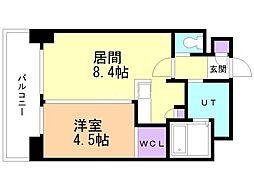 小泉マンション メム19 4階1LDKの間取り