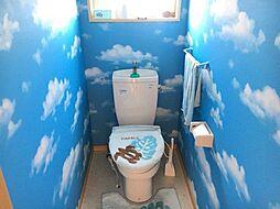 青空の壁紙のおかげで快く利用できそうなトイレです。