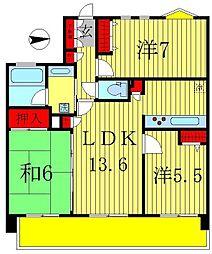 千葉県松戸市小金きよしヶ丘2丁目の賃貸マンションの間取り