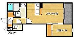 福岡市地下鉄空港線 博多駅 徒歩15分の賃貸マンション 1階1LDKの間取り