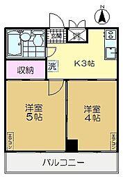 東京都世田谷区松原5丁目の賃貸マンションの間取り
