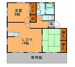 福岡県福岡市博多区板付5丁目の賃貸アパートの間取り