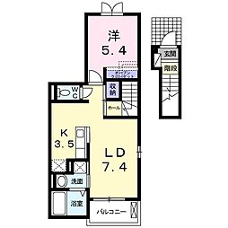 西武池袋線 稲荷山公園駅 徒歩8分の賃貸アパート 2階1LDKの間取り