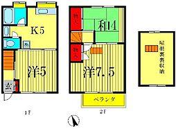 [テラスハウス] 千葉県松戸市東平賀 の賃貸【/】の間取り