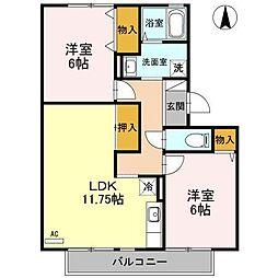パークハイツ茶園 A棟[2階]の間取り