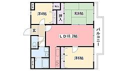 レグリス甲東園East[102号室]の間取り