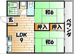 グリーンコート戸畑[1階]の間取り